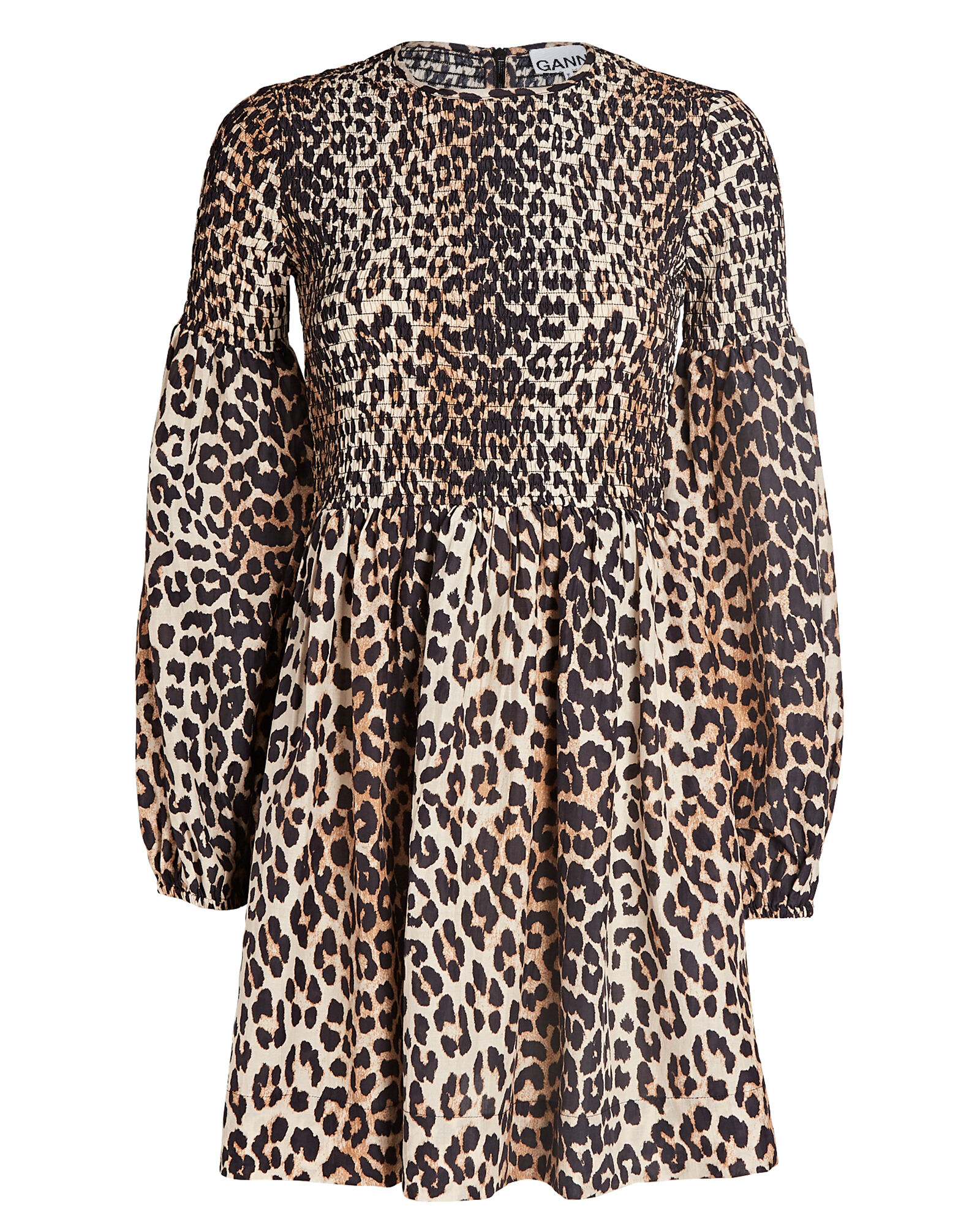 Smocked Silk-Cotton Leopard Mini Dress, BEIGE/BLACK, hi-res