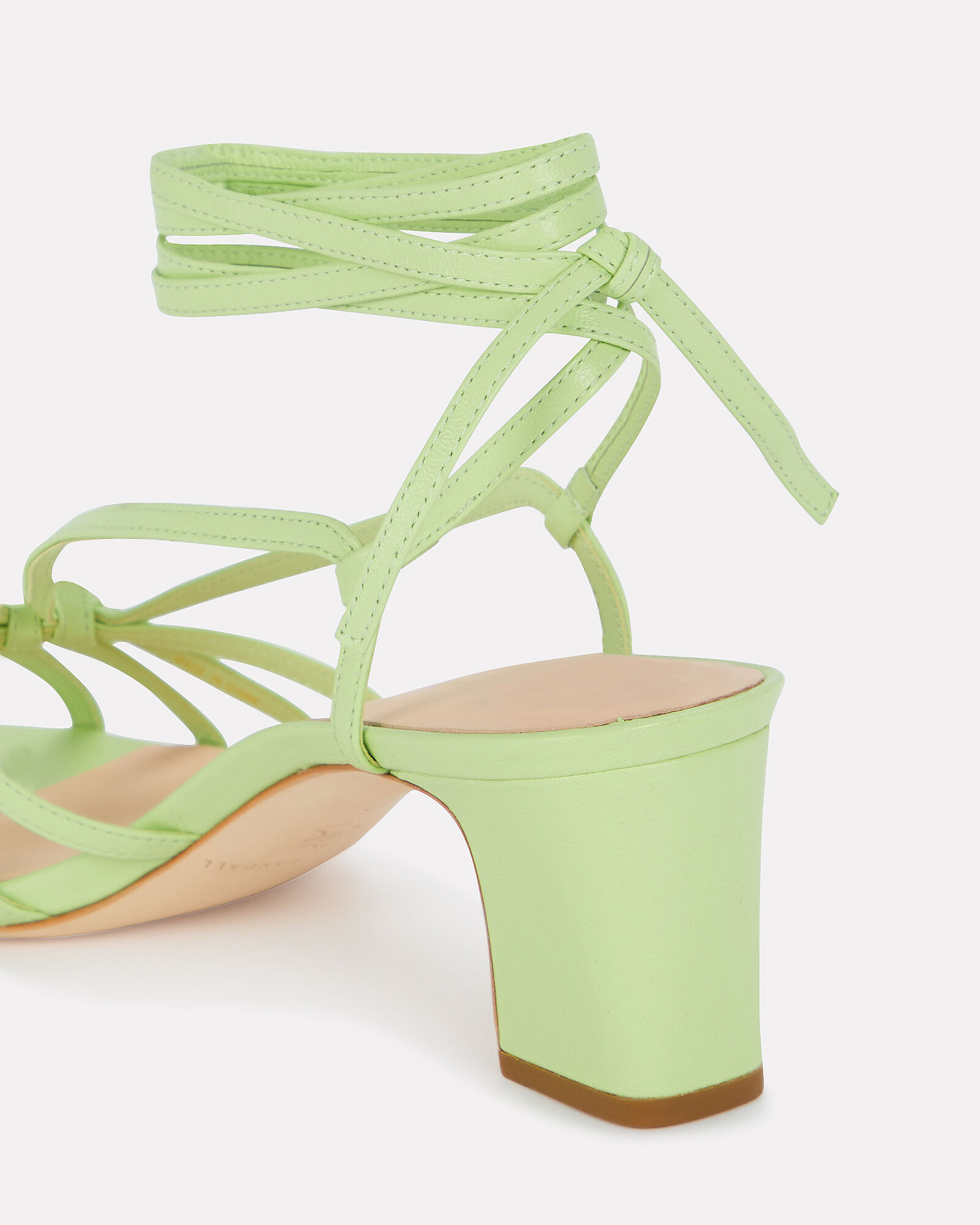 Libby Knotted Leather Sandals, GREEN-LT, hi-res