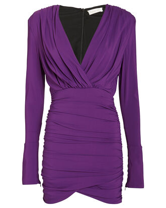 Mariana Draped Jersey Mini Dress, PURPLE, hi-res
