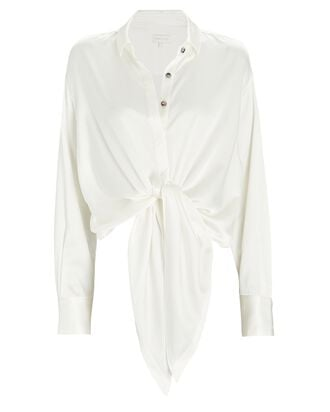 Taliah Tie-Front Silk Blouse, WHITE, hi-res