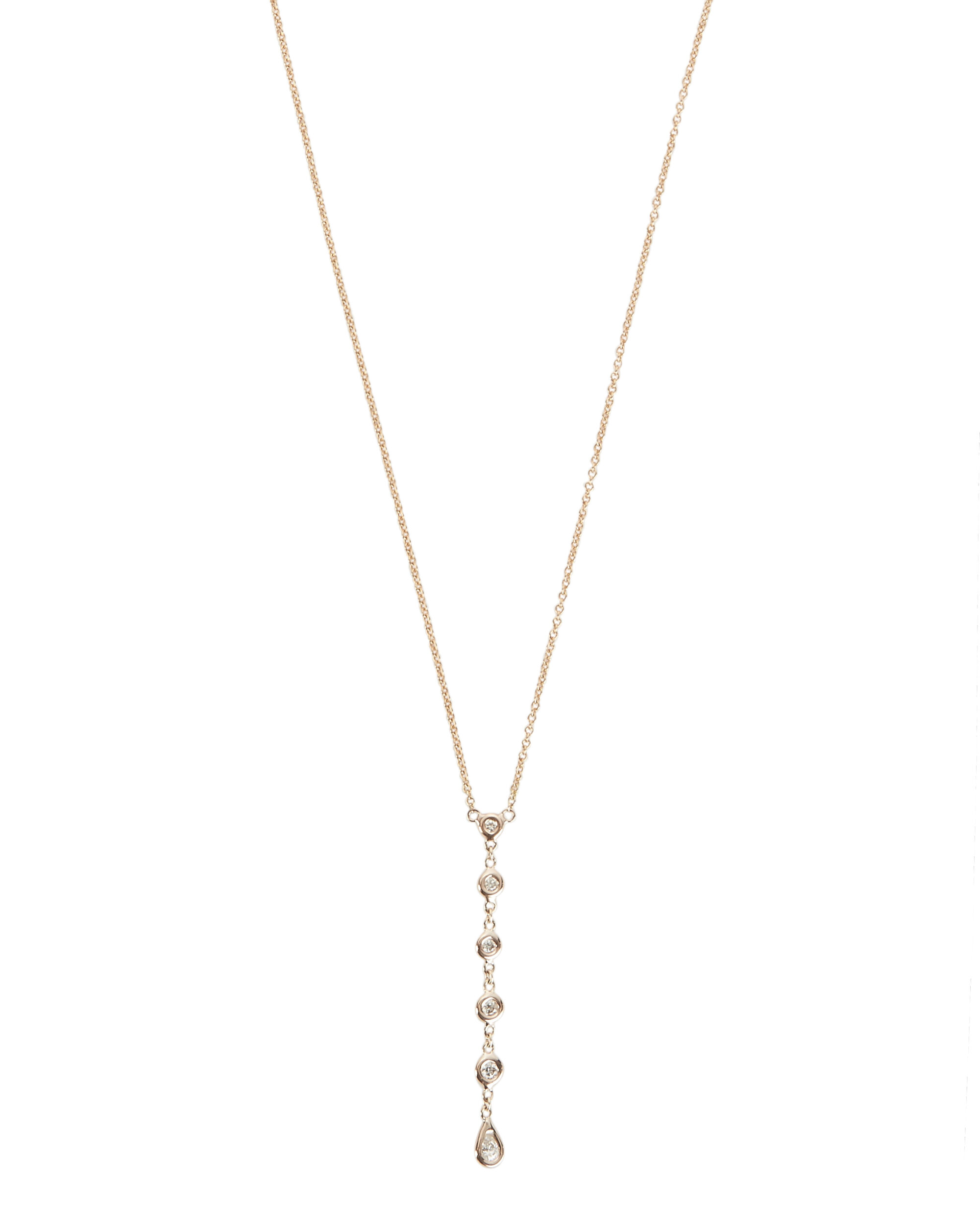 5 Diamond Y Necklace, METALLIC, hi-res