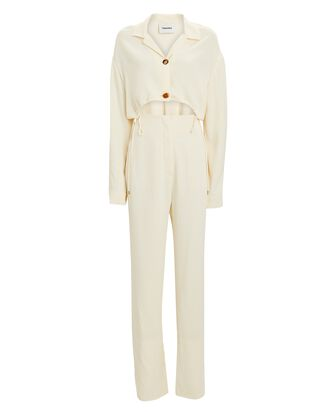 Jude Cut-Out Straight-Leg Jumpsuit, IVORY, hi-res