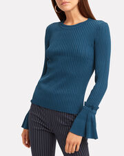 Blue Pointelle Bell-Sleeved Sweater, BLUE, hi-res