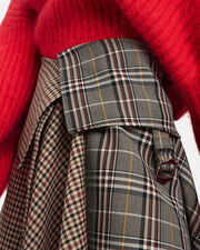 Blanket Wrap Plaid Midi Skirt, BROWN, hi-res