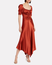 Noerene Ruched Satin Midi Dress, AUBURN, hi-res