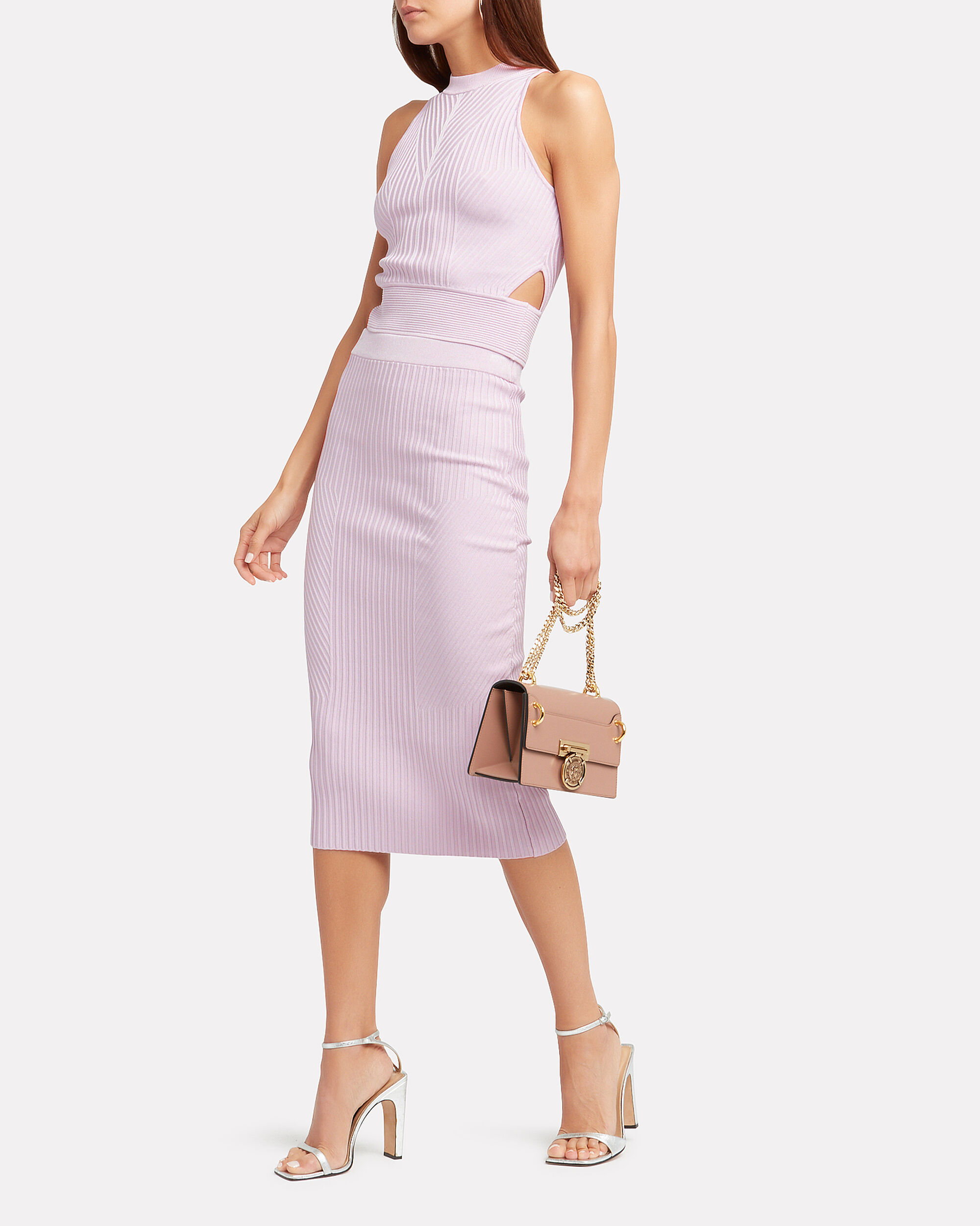 Lavender Rib Knit Pencil Skirt, LAVENDER, hi-res