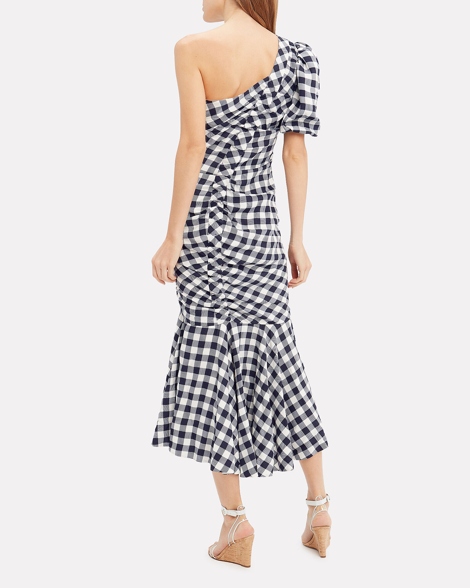 Lux Twill One-Shoulder Gingham Dress, NAVY, hi-res