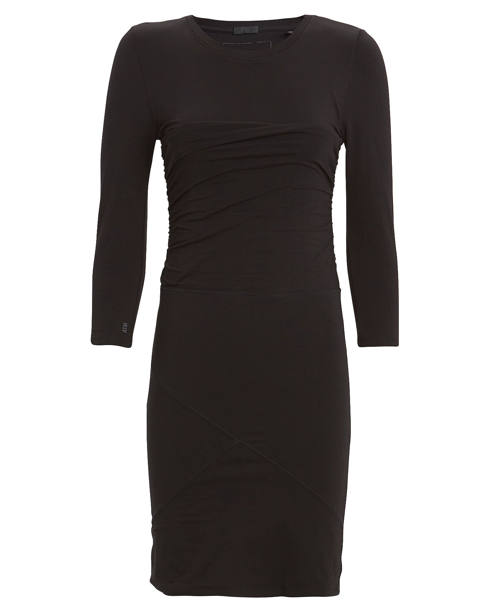 Ruched Pima Cotton Jersey Dress, BLACK, hi-res
