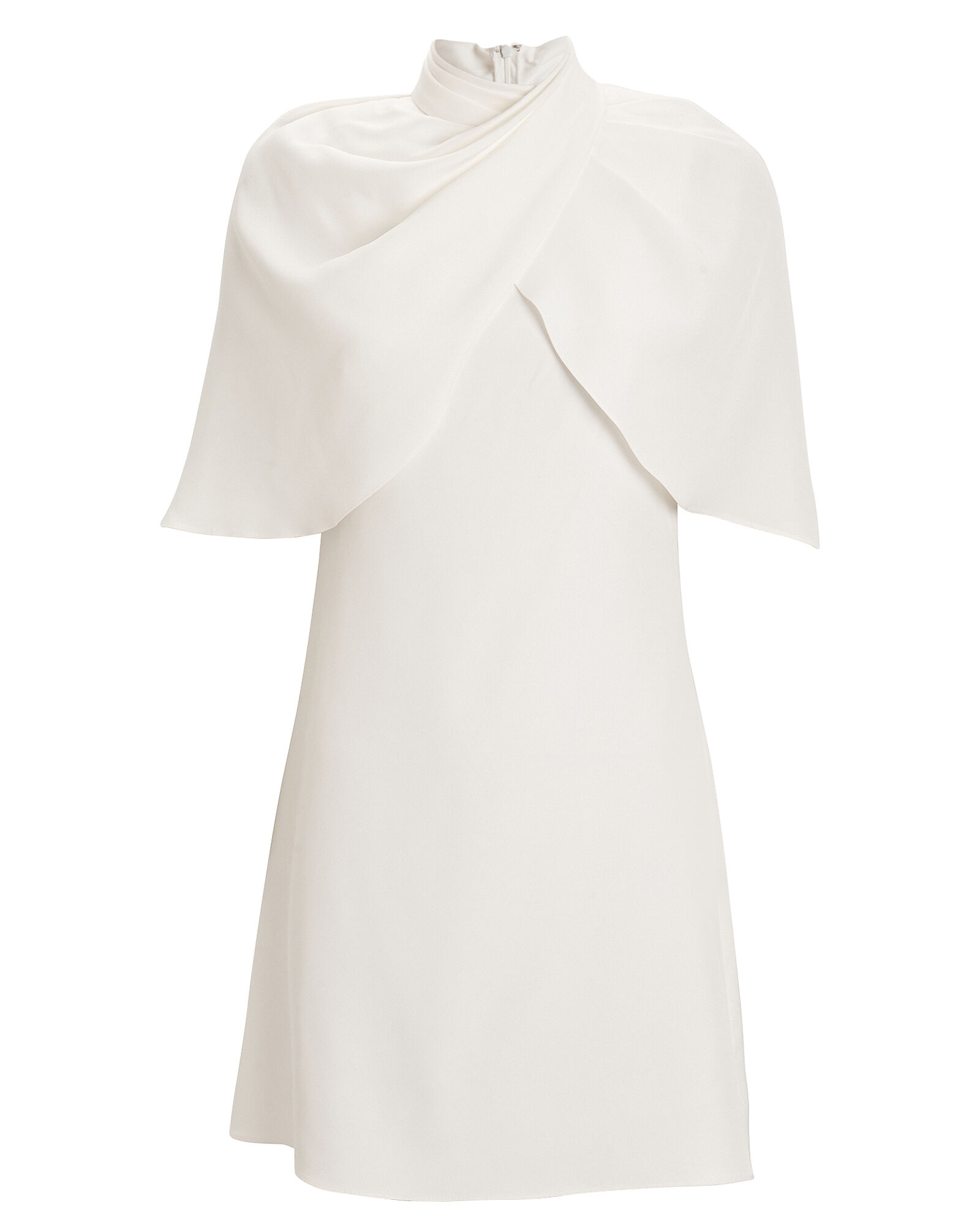Cape Silk Satin Dress, IVORY, hi-res