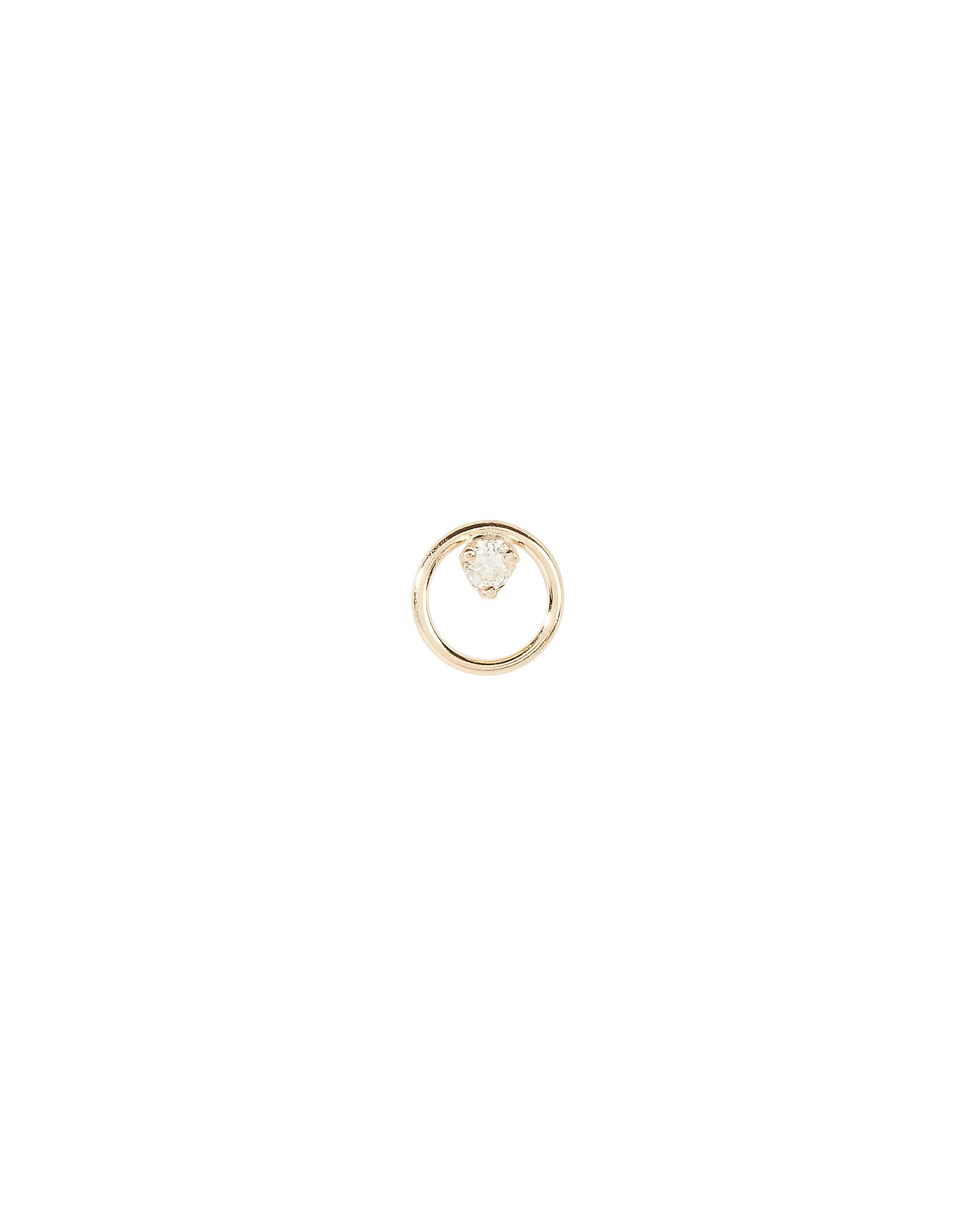 Single Diamond Circle Stud, GOLD, hi-res