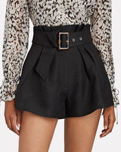 Early On Belted Paperbag Shorts, BLACK, hi-res
