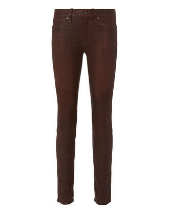 Mid-Rise Burgundy Skinny Leather Pants, RED, hi-res