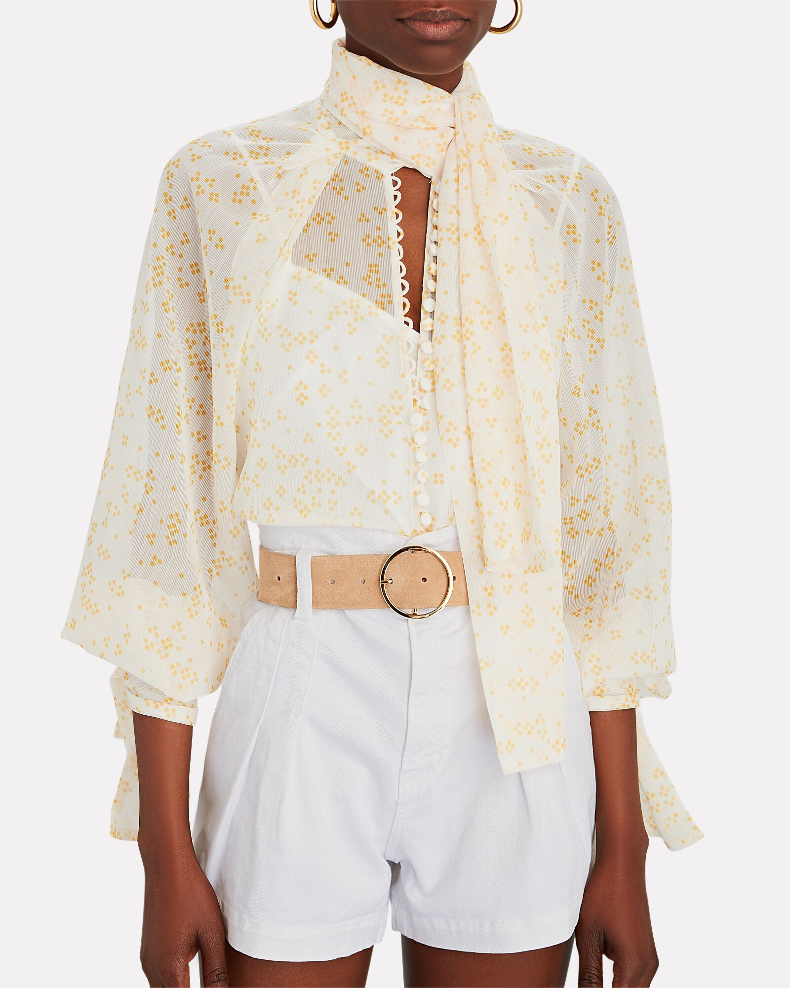 Cathedral Tie-Neck Chiffon Blouse, IVORY/YELLOW, hi-res