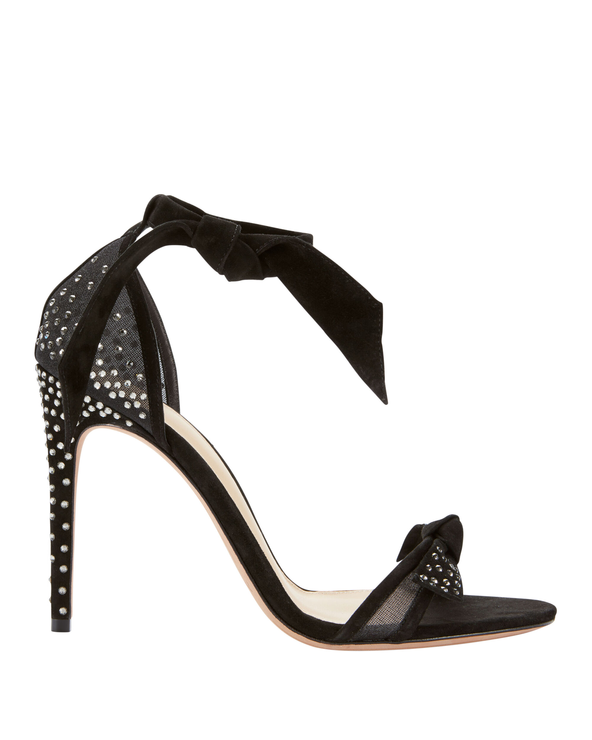 Clarita Embellished Suede And Mesh Sandals, Black