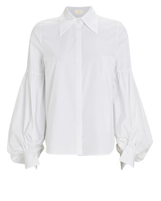 Blouson Sleeve Button-Down Shirt, WHITE, hi-res