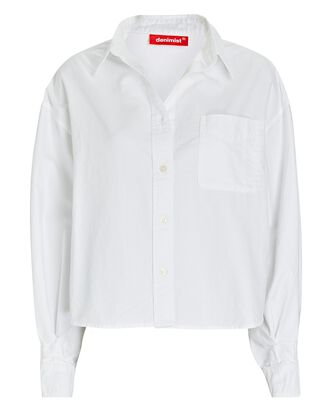 Mayfield Cropped Button-Down Shirt, WHITE, hi-res