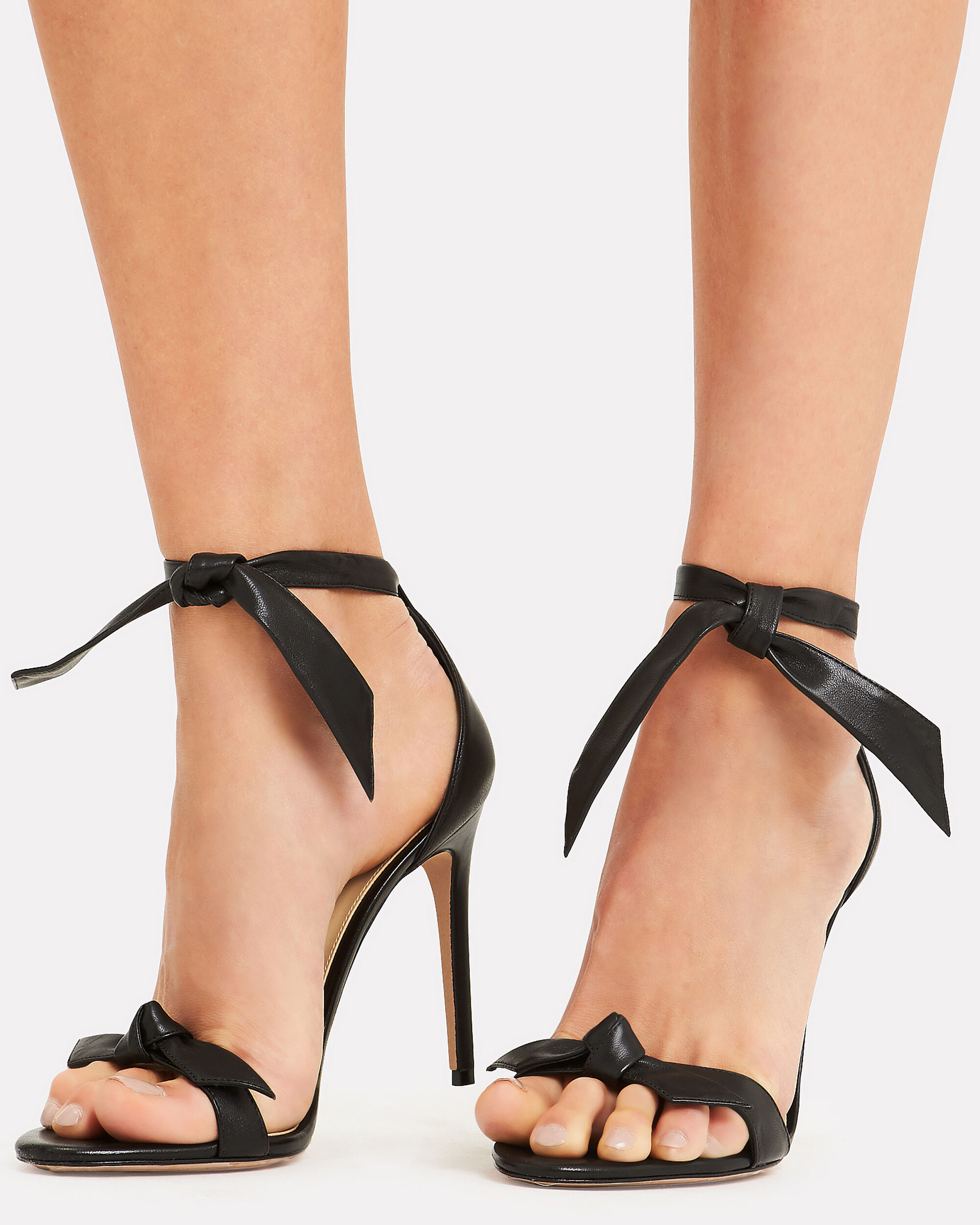 Clarita Double Bow Black Leather High Sandals, BLACK, hi-res