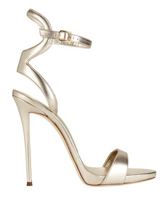 Coline Ankle Strap Metallic Leather Sandals, GREY, hi-res