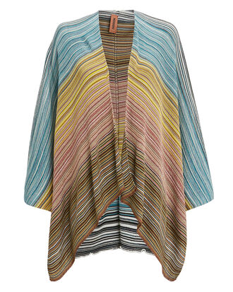 Metallic Stripe Cape, BLUE/YELLOW/PINK, hi-res