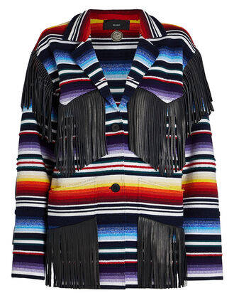 Sarape Fringed Cashmere-Blend Jacket, RAINBOW, hi-res