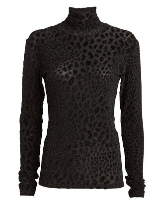 Delphine Leopard Velour Turtleneck Top, BLACK, hi-res
