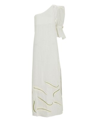 Buenaventura One-Shoulder Linen Dress, IVORY, hi-res