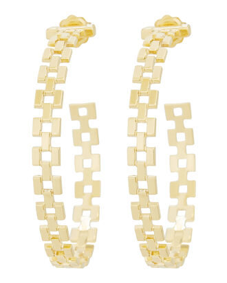 Portia Links Gold Hoop Earrings, GOLD, hi-res