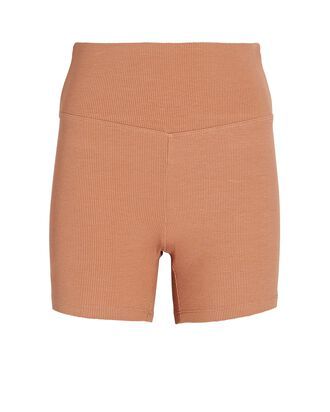 Rib Knit Bike Shorts, BROWN, hi-res