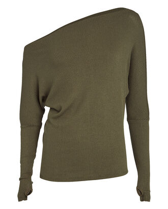 Slouch Rib Knit Top, OLIVE, hi-res