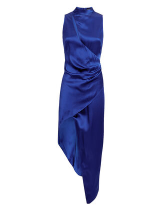 Blue Cutout Satin Ruched Dress, COBALT BLUE, hi-res