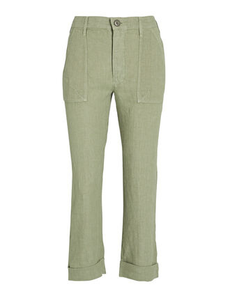 Le Beau Military Linen Pants, OLIVE/ARMY, hi-res