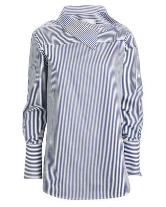 One-Shoulder Striped Button Down, NAVY/STRIPE, hi-res