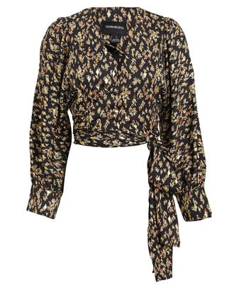 Apple Floral Wrap Blouse, BLACK/GOLD FLORAL, hi-res