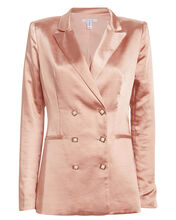 Don't Call Me Baby Satin Blazer, MUTED SAND, hi-res