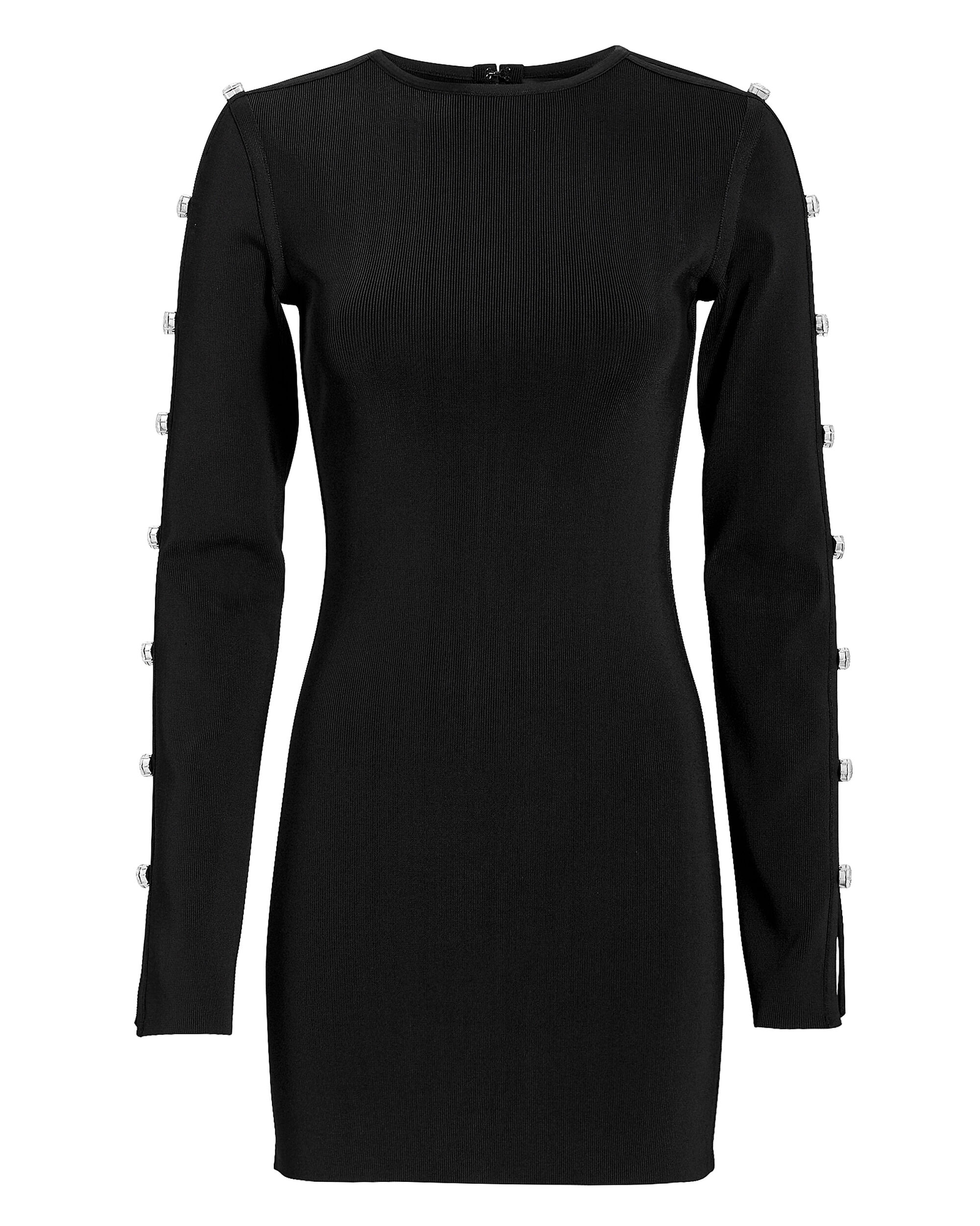 Crystal-Embellished Slit Sleeve Mini Dress, BLACK, hi-res