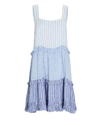 Sandy Sleeveless Striped Mini Dress, BLUE, hi-res