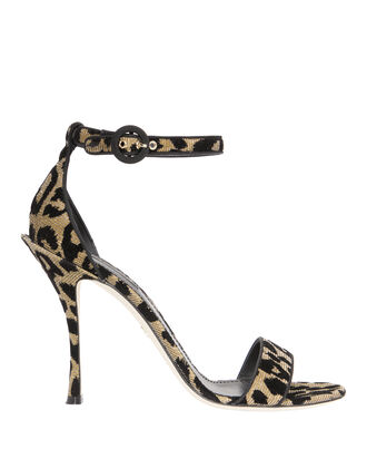 Leopard Lurex Ankle Strap Sandals, BLACK, hi-res