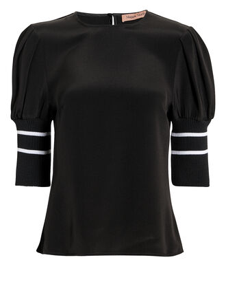 Don't Lose Yourself Puff Shoulder Top, BLACK, hi-res