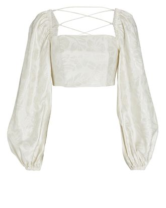Roselle Puff Sleeve Crop Top, IVORY, hi-res
