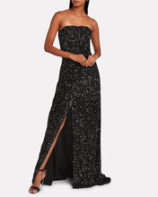 Sequin-Embellished Strapless Gown, BLACK, hi-res