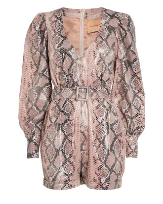 Python-Embossed Faux Leather Romper, DUSTY ROSE/PYTHON, hi-res