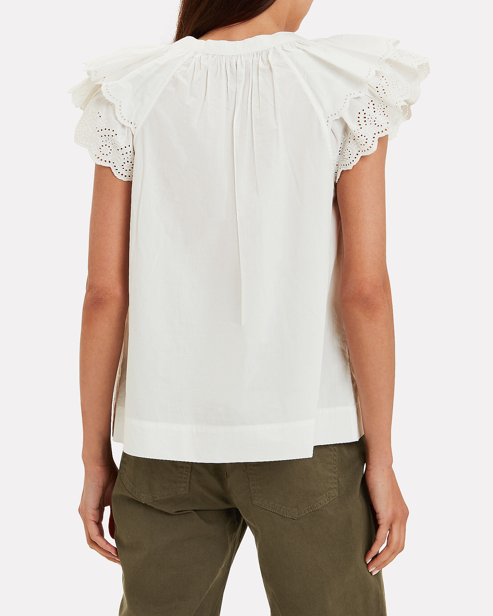 Elm Eyelet Cotton Blouse, WHITE, hi-res