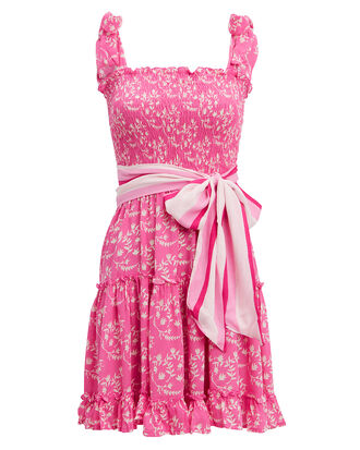Raegan Floral Mini Dress, PINK/WHITE FLORAL, hi-res