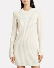 Velvet-Trimmed Rib Knit Dress, IVORY, hi-res