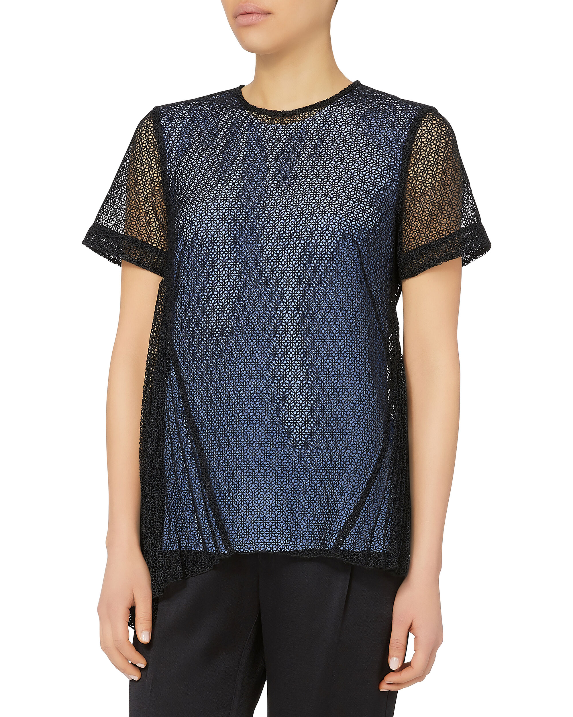 Pleated Panel Asymmetric Top, BLACK, hi-res