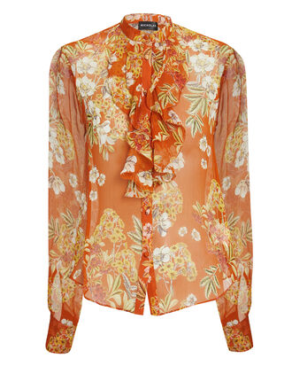 Orange Ruffle Front Floral Blouse, ORANGE/FLORAL PRINT, hi-res