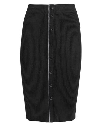 Ribbed Pencil Skirt, BLACK, hi-res