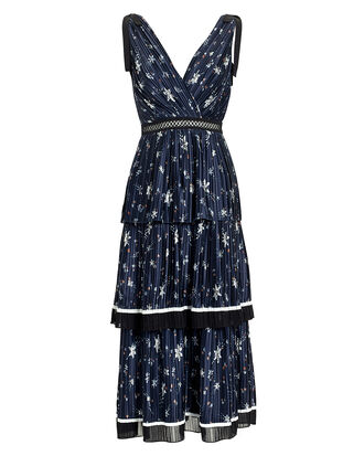 Star Print Tiered Midi Dress, NAVY, hi-res