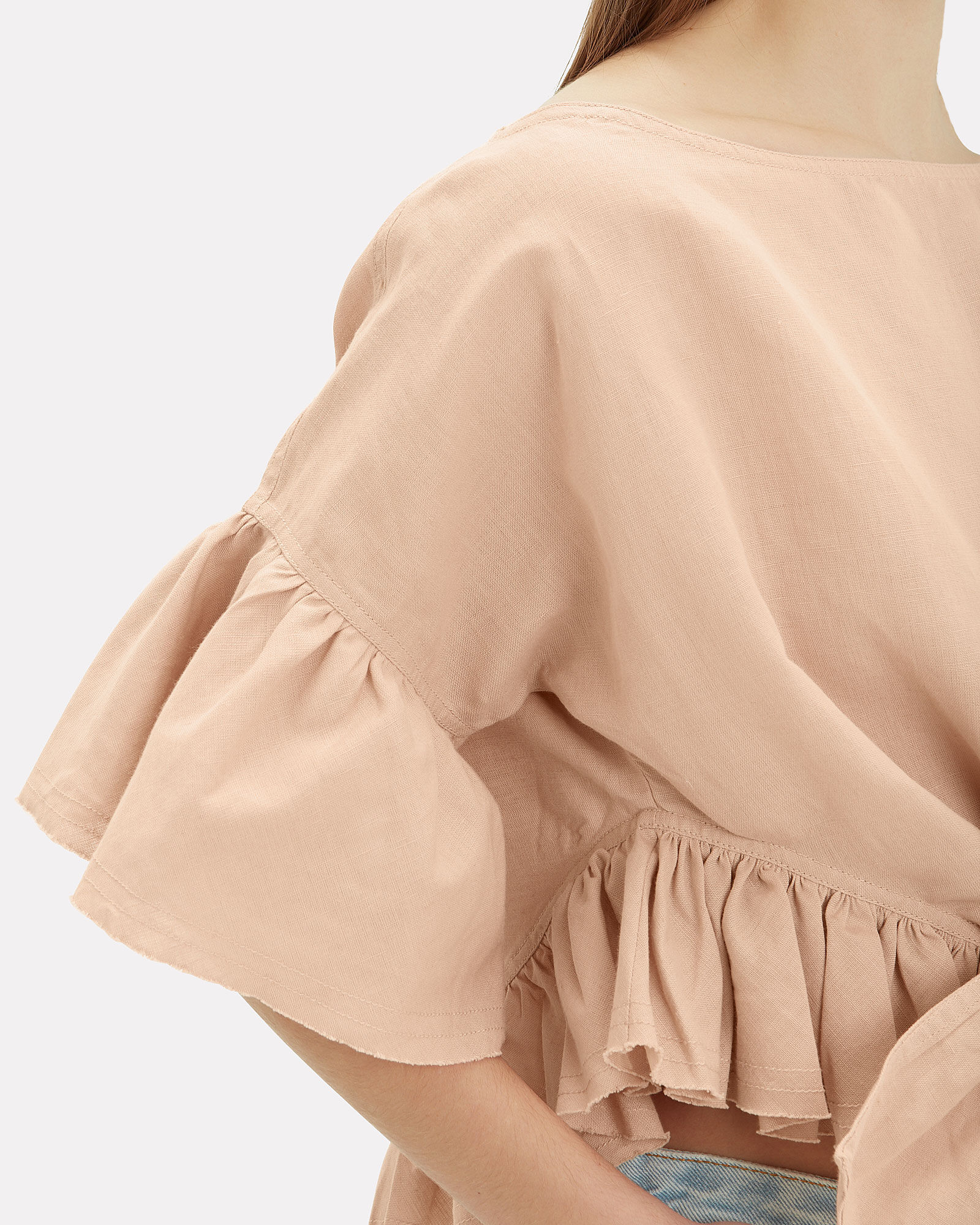 Linn Ruffle Crop Top, BEIGE, hi-res