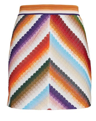 Chevron Knit Mini Skirt, MULTI, hi-res